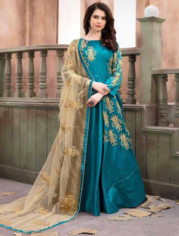 Embroidered Art Silk Abaya Style Suit