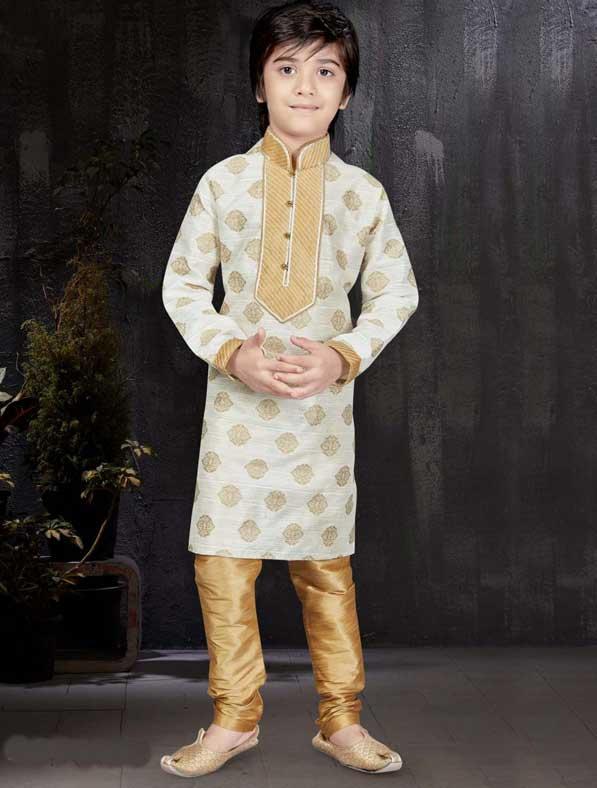 Cream Jacquard Zari Kurta Pyjama