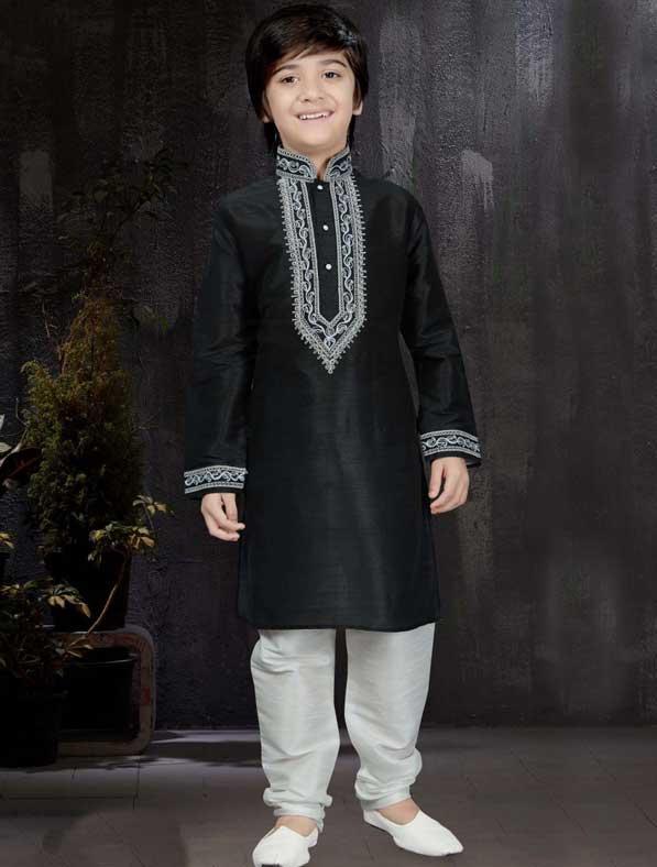 Dupion Silk Resham Kurta Pyjama