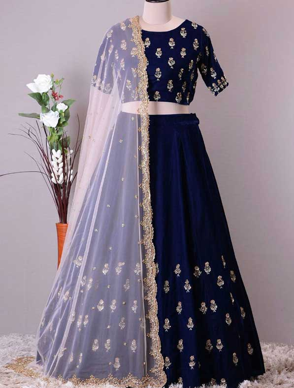 Navy Blue Lehenga Choli In Mulbary