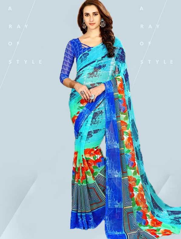 Printed Chiffon Designer Fancy Saree