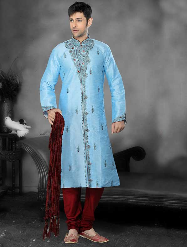 Dupioni Silk with Patch Work Sherwani
