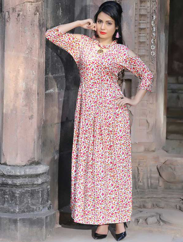 Gown Style Floral Printed Kurti
