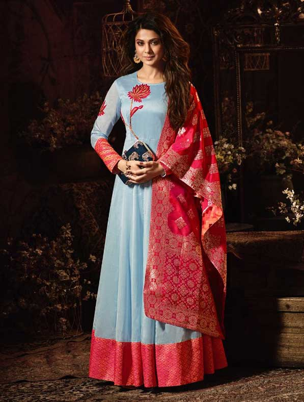 Georgette and Silk Embroidery Partywear