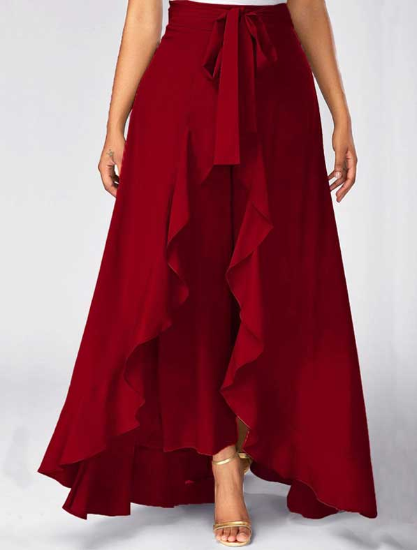 Ruffle Rayon Skirt in Shaded Red