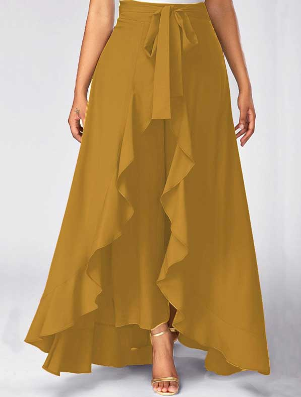 Ruffle Rayon Skirt in Shaded Yellow