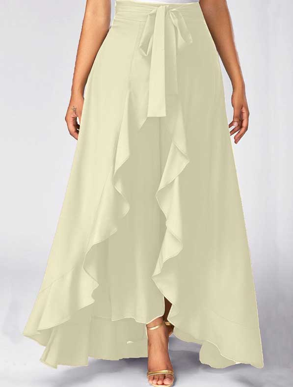 Ruffle Rayon Skirt in Shaded White