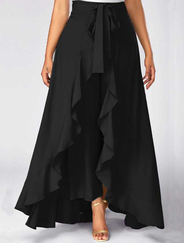 Ruffle Rayon Skirt in Shaded Black