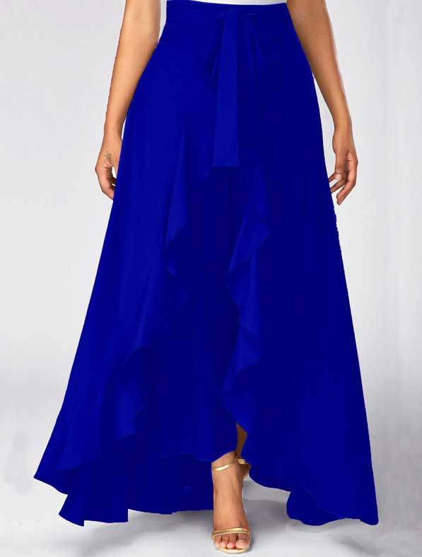 Ruffle Rayon Skirt in Shaded Blue