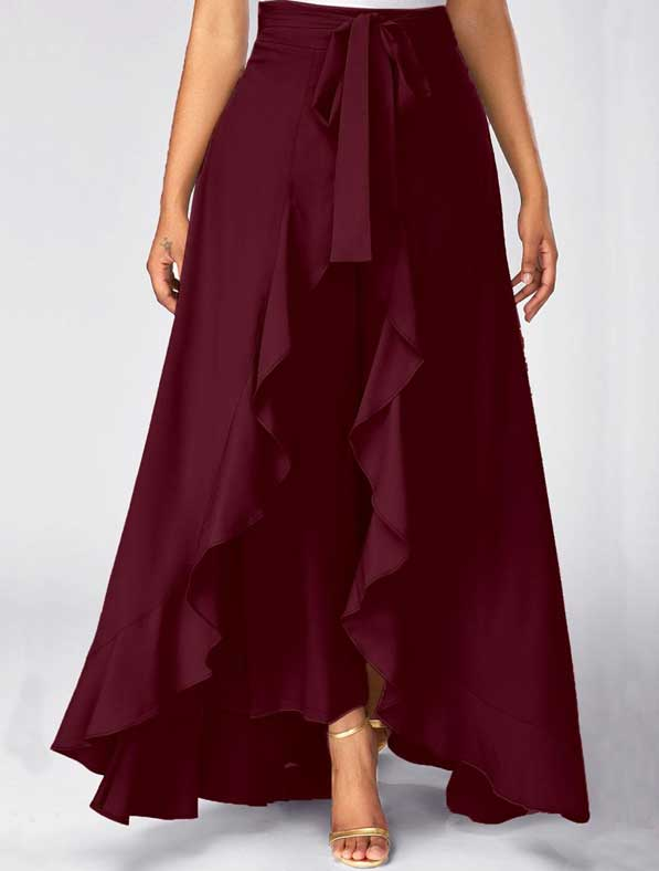Ruffle Rayon Skirt in Shaded Maroon