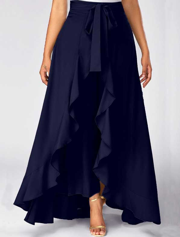 Ruffle Rayon Skirt in Shaded Navy