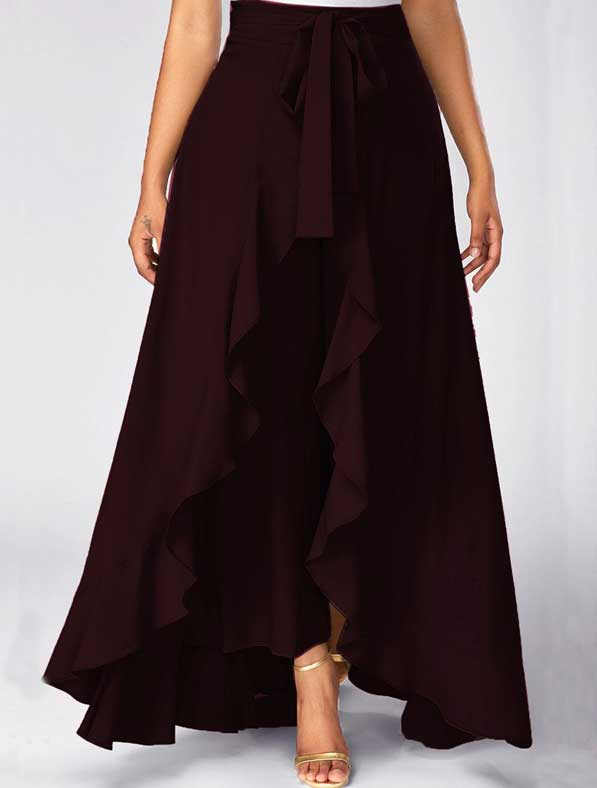 Ruffle Rayon Skirt in Shaded Brown