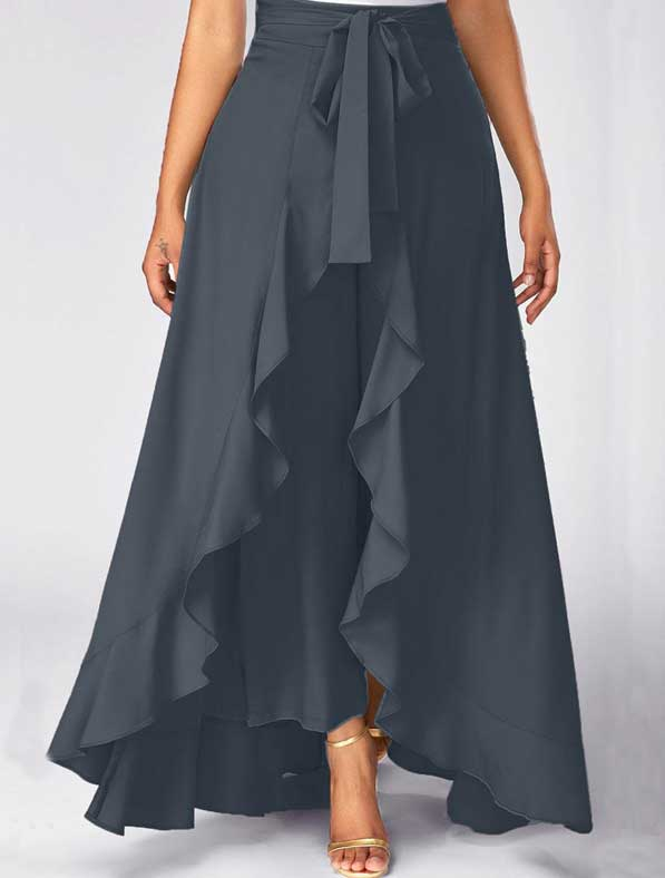 Ruffle Rayon Skirt in Shaded Grey
