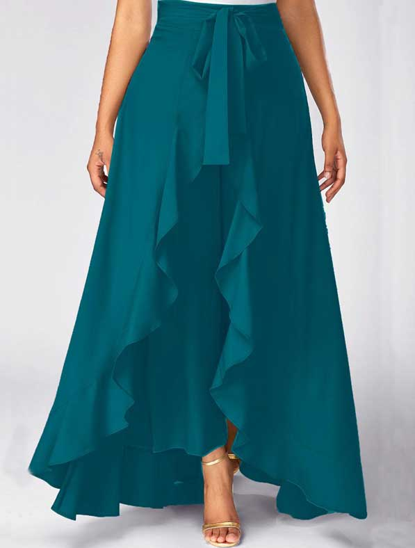 Ruffle Rayon Skirt in Shaded Teal