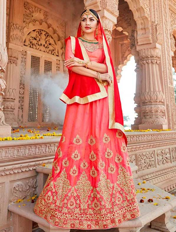 Embroidered Art Silk A-line Lehenga