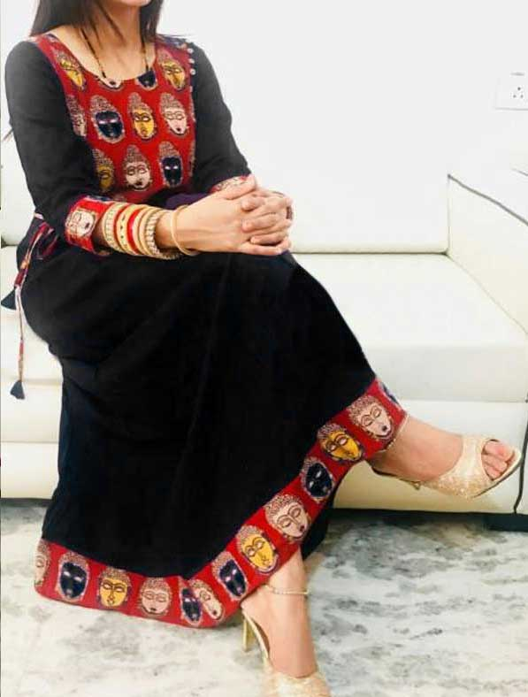 Kalamkari Work Cotton Long Kurti