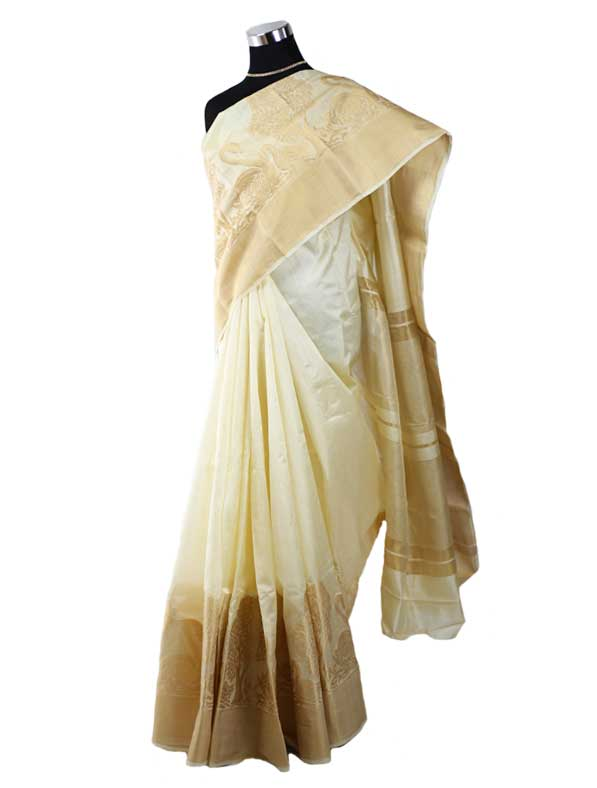 Tasar Silk Saree with Swan Print