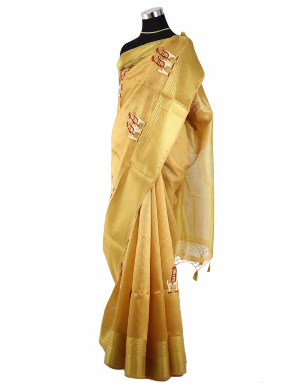 Embroidered Organza Saree in Golden