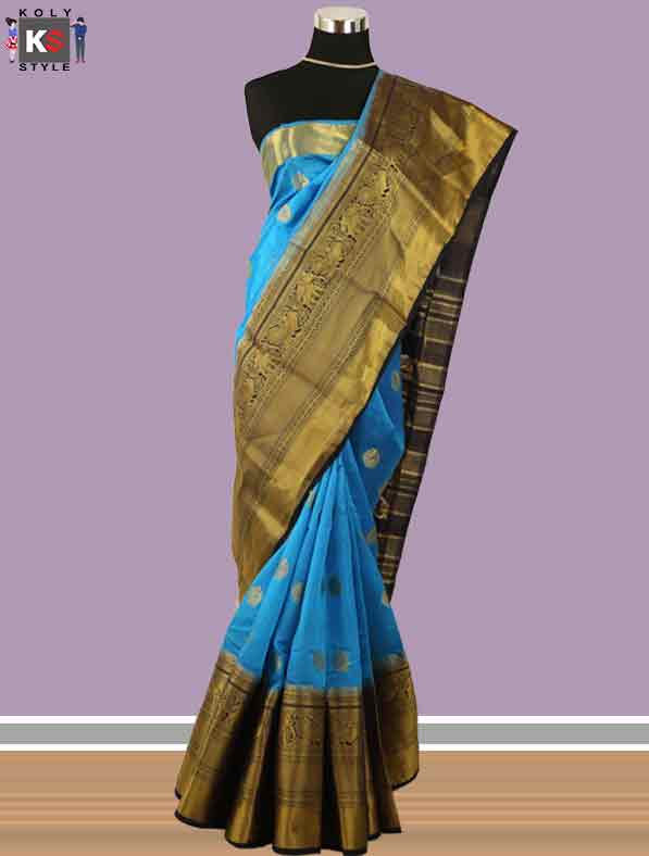 Woven Chanderi Silk Saree in Blue