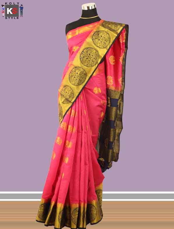 Woven Chanderi Silk Saree in Pink
