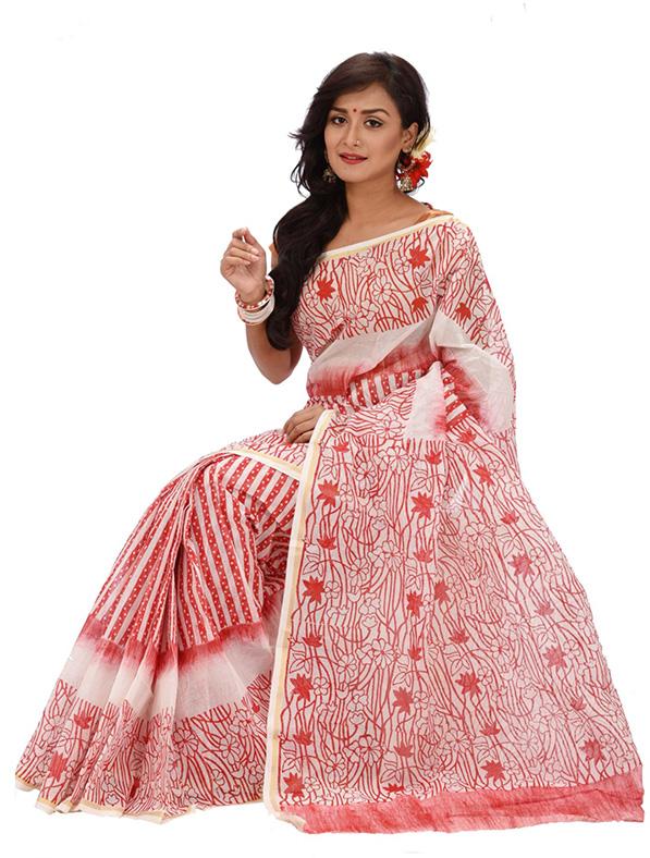 Tant Cotton Block Printed Designer Saree