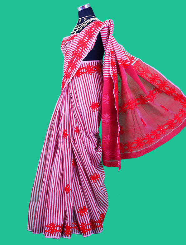 Designer Aplic Work Halk Silk Saree