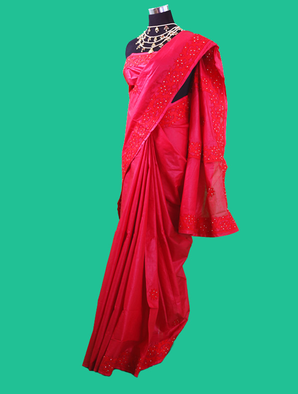 Designer Aplic Work Cotton Saree
