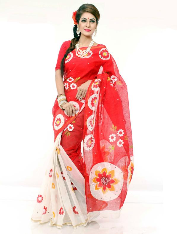 Floral Printed Cota Cotton Saree