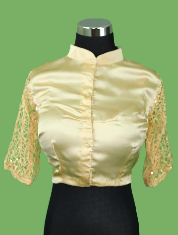 Glitter Sequin Lace and Silk Blouse