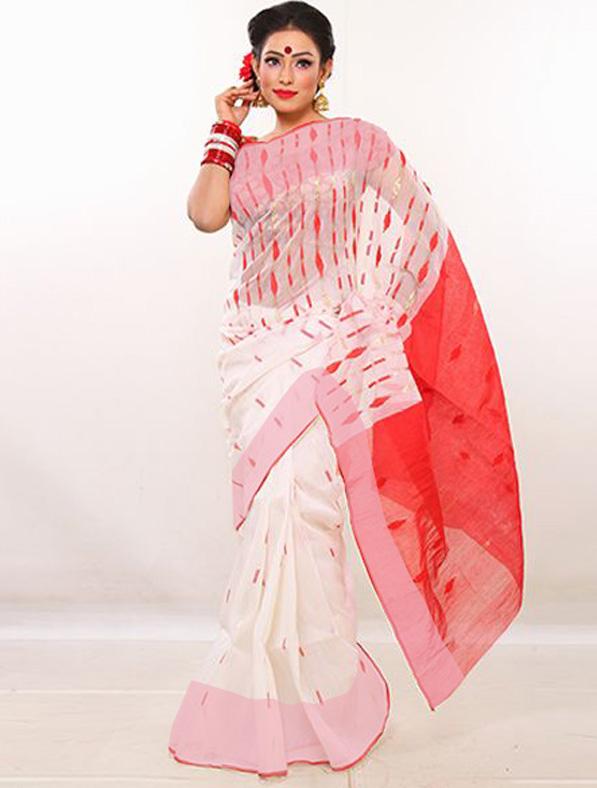Designer Half Silk Jamdani Saree
