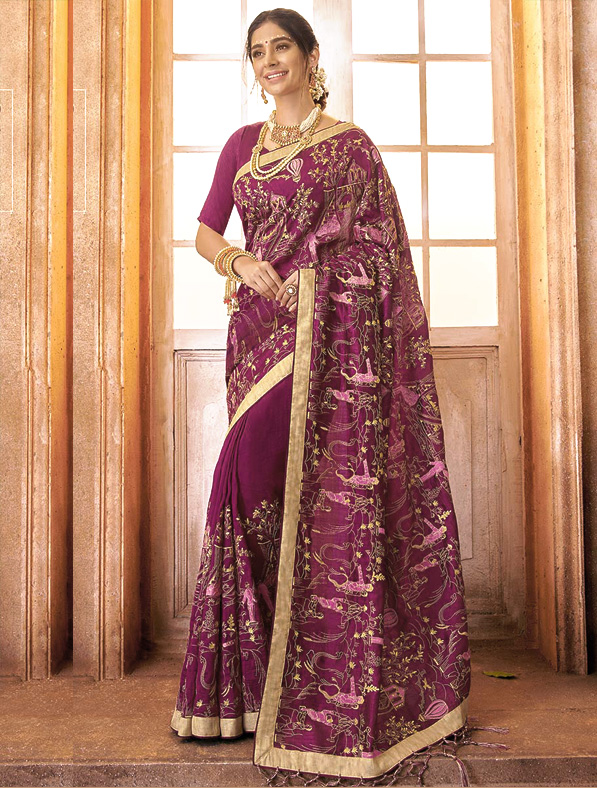 Elegant Crape Silk Saree in Purple