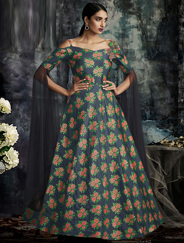 Jacquard Digital Printed A-Line Gown