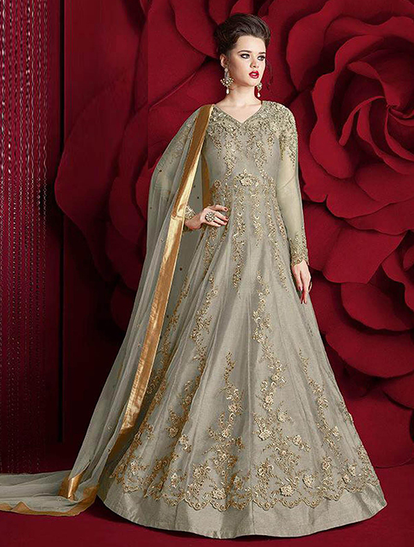 Silk Embroidery Anarkali Salwar Kameez