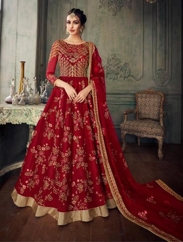 Designer Indo Western Gown in Maroon
