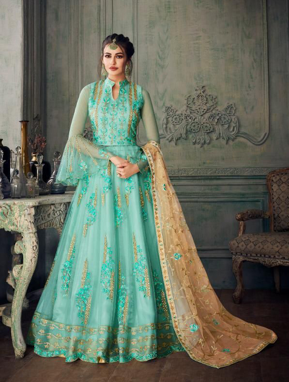 Elegant Indo Western Gown in Blue