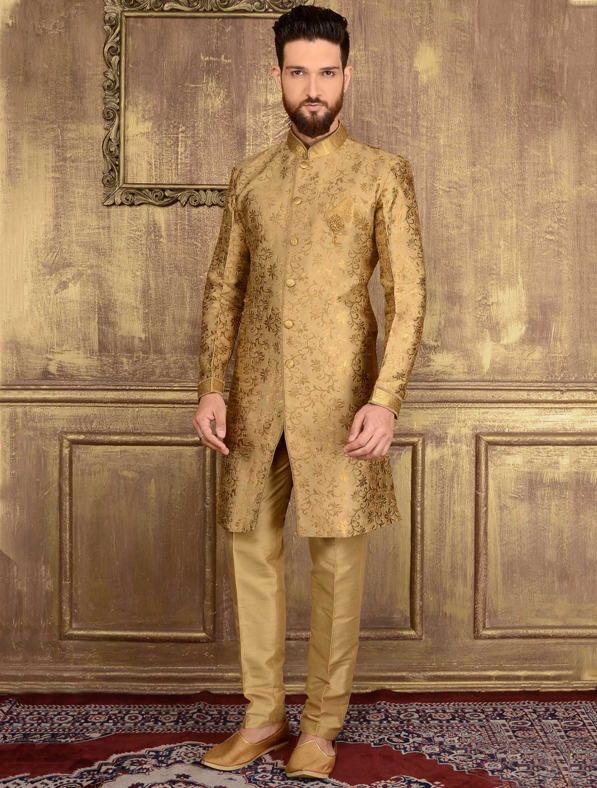 Golden Jacquard Printed Sherwani
