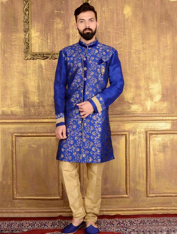 Blue Jacquard Printed Sherwani