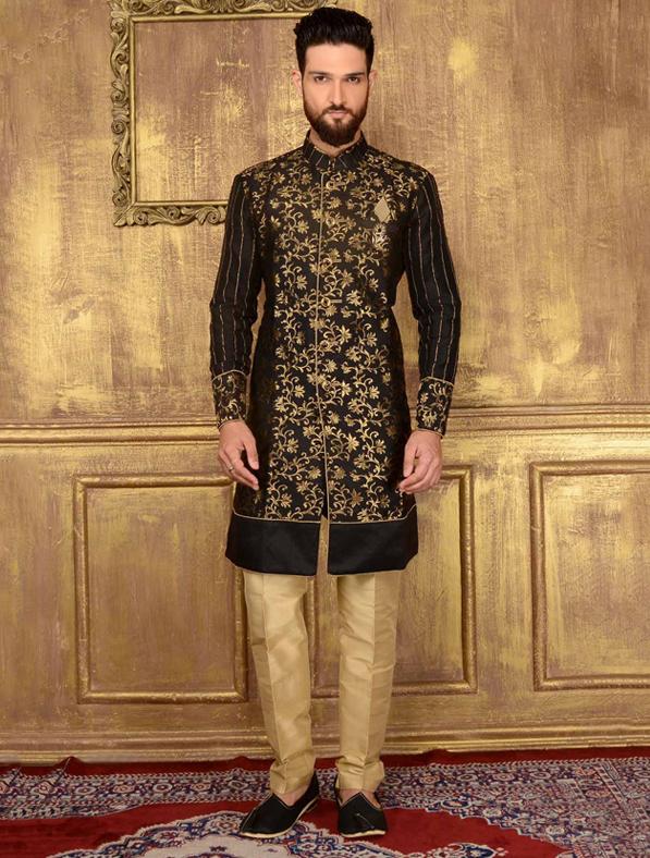 Black Designer Jacquard Printed Sherwani