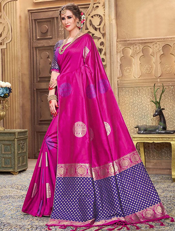 Purple Silk Festive Wear Saree