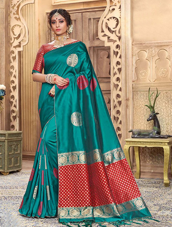 Green Silk Festive Wear Saree