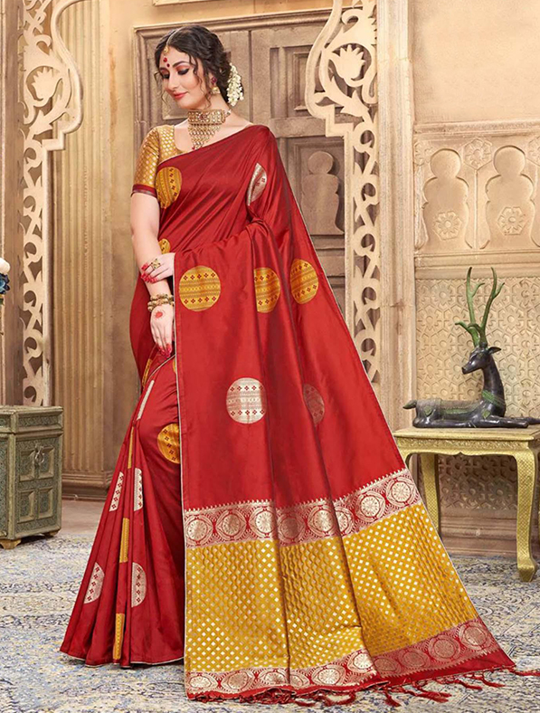 Red Silk Festive Wear Saree