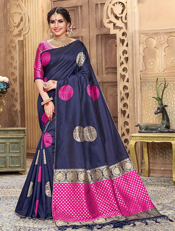 Blue Silk Festive Wear Saree