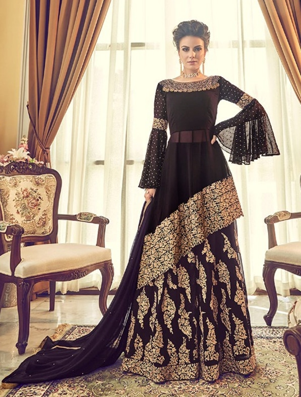 Heavy Embroidered Abaya Style Anarkali Suit