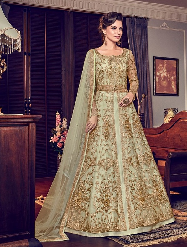 0181561571 Embroidered Abaya Style Anarkali Suit | KolyStyle