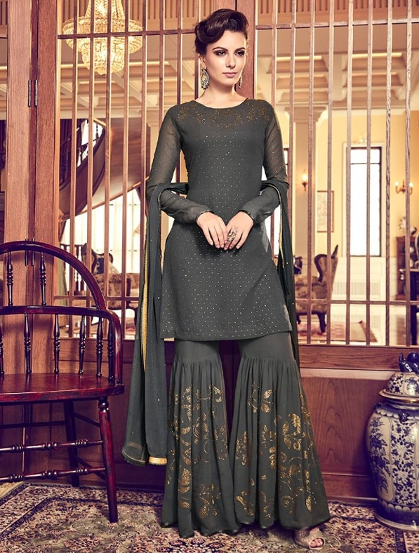 Designer Embroidered Sharara Suit