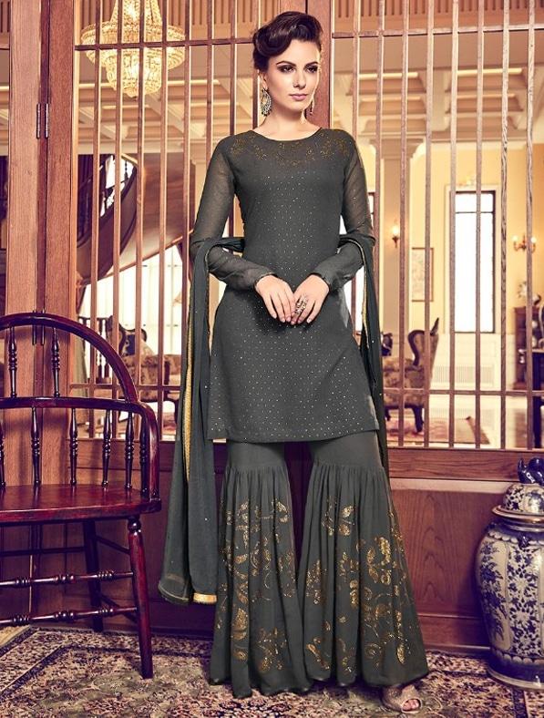 Designer Embroidered Sharara Suit
