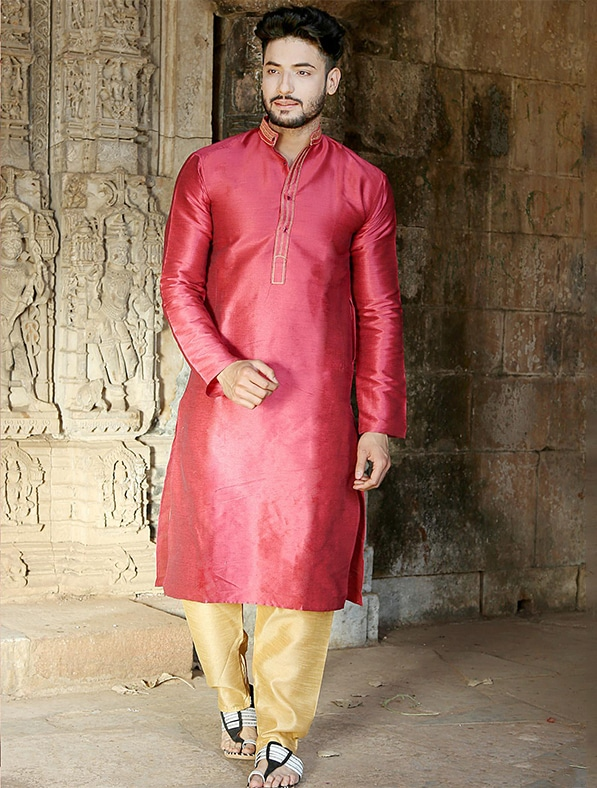 Pink Silk Embroidered Kurta Pajama