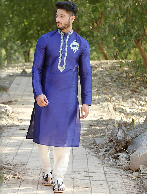 Blue Silk Embroidered Kurta Pajama