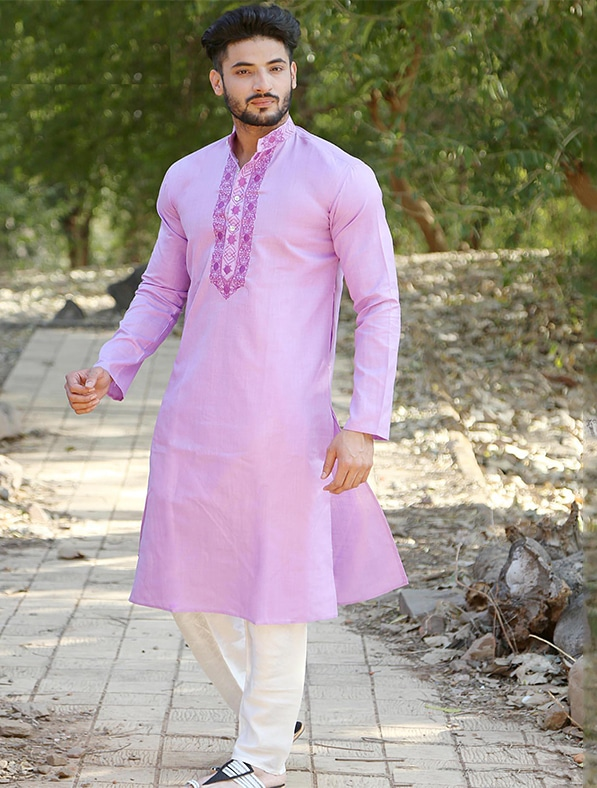 Purple Cotton Embroidery Kurta Pajama