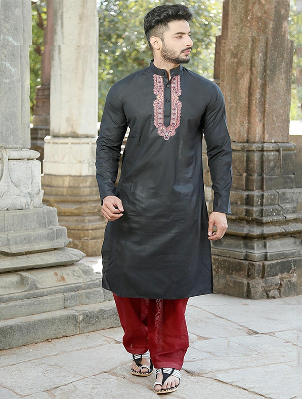 Black Cotton Embroidery Kurta Pajama